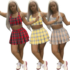 Open navel 100 fold skirt tennis suit