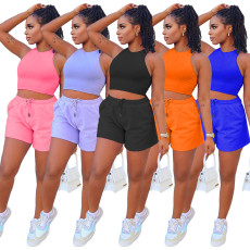 Solid vest shorts casual two piece set