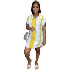 Stripe Print casual shirt dress