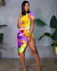 Fashion thread tie dyed dress