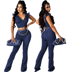 Fashion V-neck petal sleeve trumpet pants suit