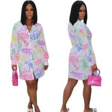 Trendy Digital Print Shirt Dress
