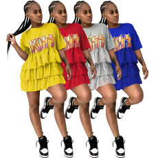 Printed cake skirt mesh dress T-shirt dress