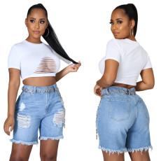 Fashion hand worn high waist denim shorts