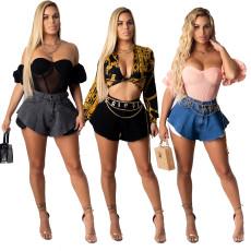 Fashionable loose washable stretch denim shorts