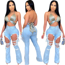 Fashion casual cut-out flared jeans