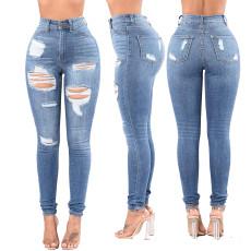 Fashion high waist jeans with holes