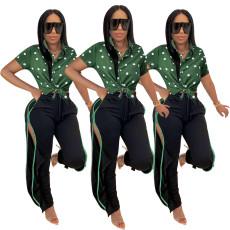 Fashion cardigan Polka point Lapel shirt