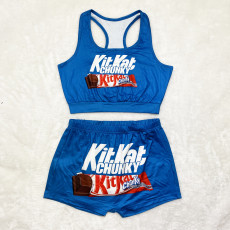 Sexy print vest Shorts Set