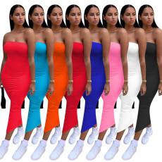 Fashion solid color bra dress