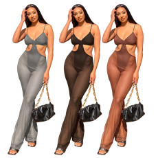 Sexy stitching perspective mesh Jumpsuit