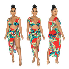 Sexy strap top pleated split skirt two piece swimsuit