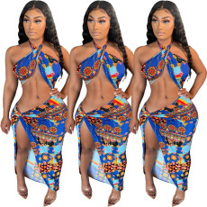 Sexy print bandage skirt two piece swimsuit
