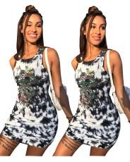 Sexy print sleeveless dress