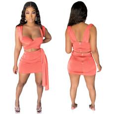 Fashion open back zipper cross two piece set