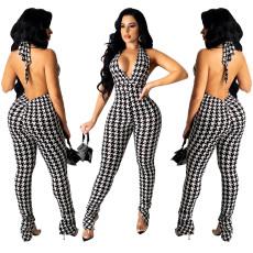 Fashion print tight mid waist Jumpsuit