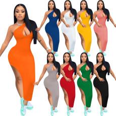 Fashion solid diagonal shoulder slit dress