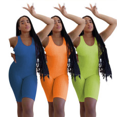 Sexy bubble fabric solid color Jumpsuit