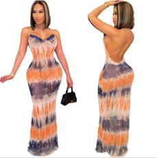 Open back print V-neck dress with drawstring