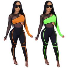 Sexy fashion mesh elastic two piece set