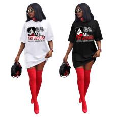 Fashion cartoon printed T-shirt dress