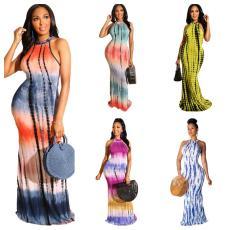 Tie dye printed sexy long dress