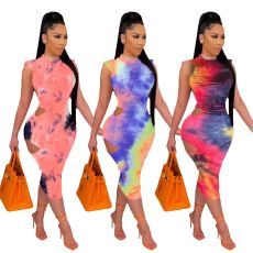 Sexy cut out tie dyed dress