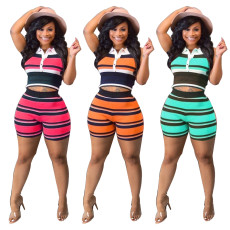 Two piece set of color matching Lapel pit fabric