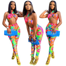 Two piece sexy chest binding tie dye printing set