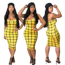 Check print fashion casual dress