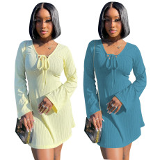 Solid color casual sexy loose dress