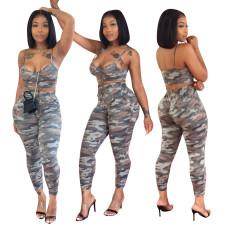 Camouflage printing suspender vest suit