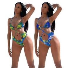 Ocean print sexy bikini suit