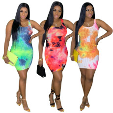 Sexy dress with tie dyed buttocks