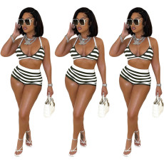 Two piece sexy print striped swimsuit