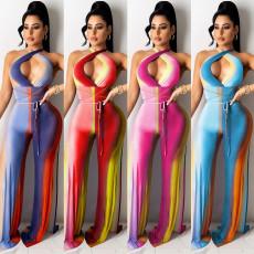 Digital color contrast cross strap Jumpsuit