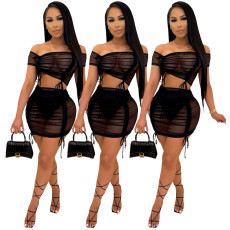 Two piece sexy mesh skirt