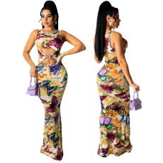 Fashion elastic digital print dress