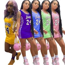 Summer round neck printed basketball dress