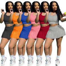 Slim vest bubble Yoga skirt two piece set