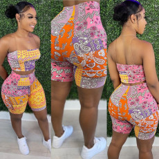 Sexy chest wrapped printing suit