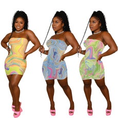 Printed bra and buttock dress