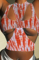Vest strap print two piece set
