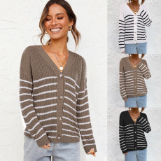 Casual loose knit striped cardigan