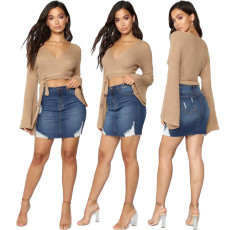 Fashion denim skirt with holes and buttocks