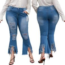 Fashion pierced stretch flared pants