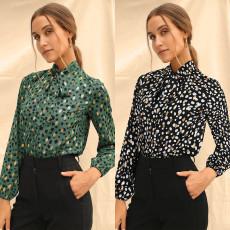Fashion long sleeve Lapel gilt Print Shirt