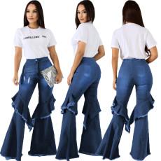 Fashion denim flared pants with hole stitching