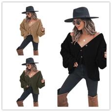 Big V-Neck long sleeve top fashionable plush coat