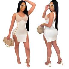 Fashion high elastic zipper slit dress